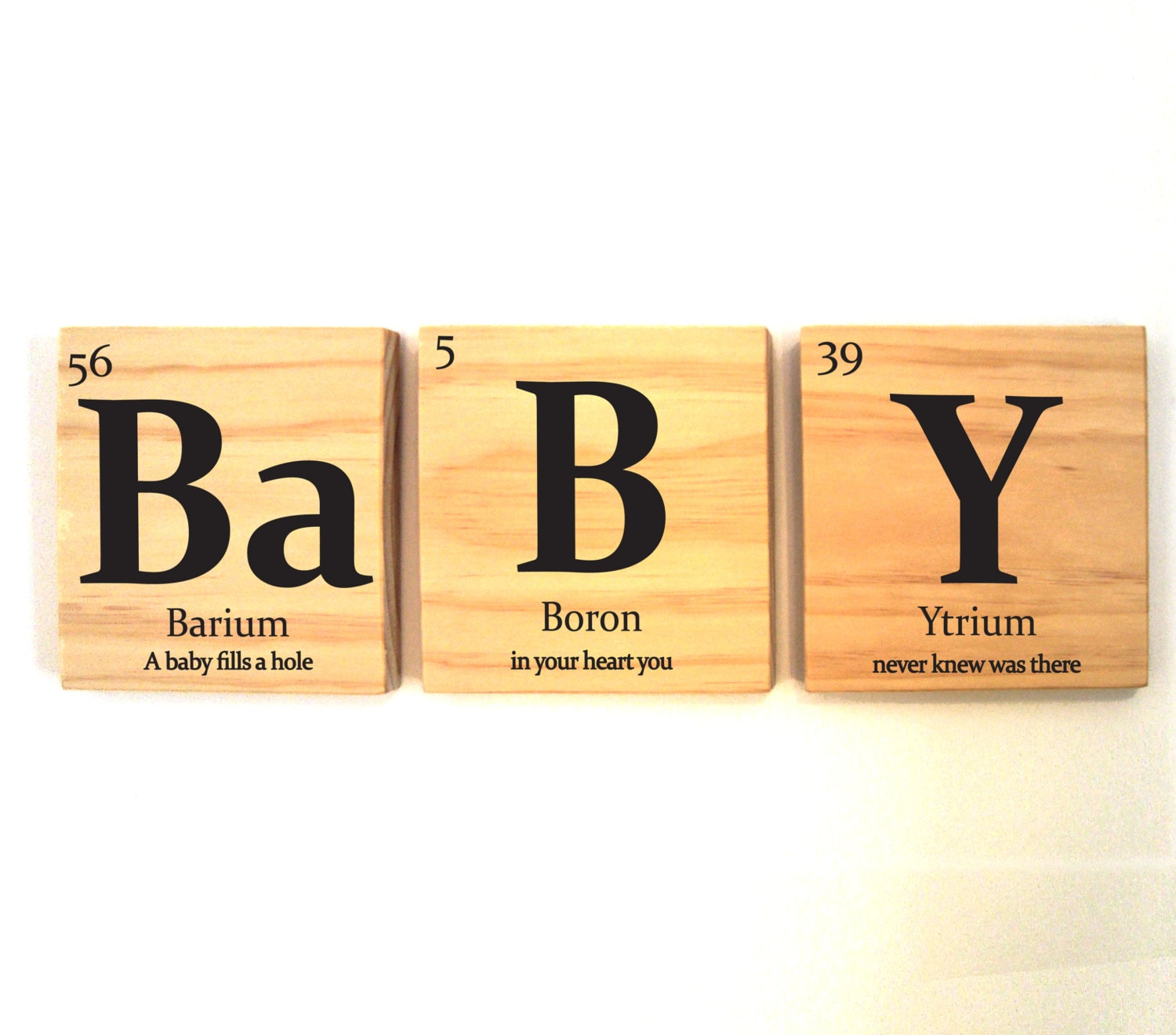 BaBY wooden tile wall art with quote- Periodic table of elements