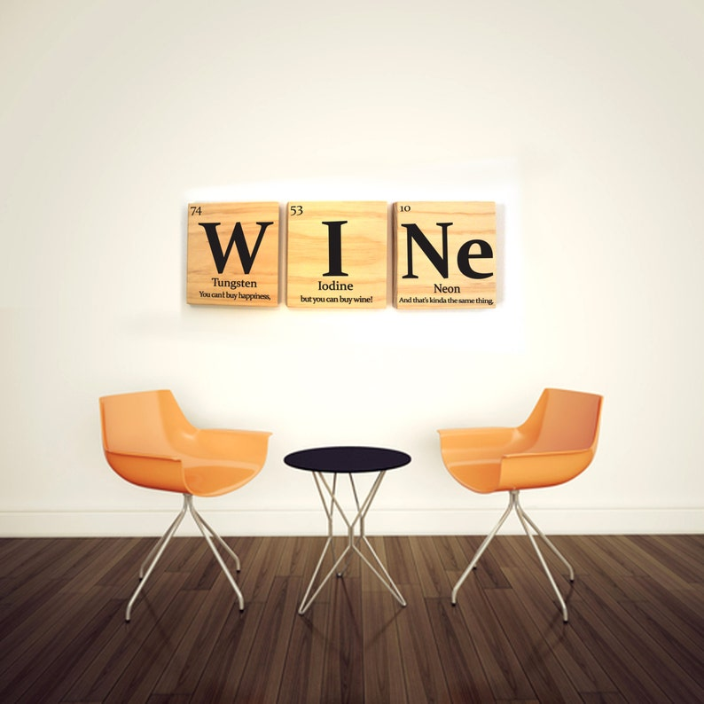 Wine Periodic Table Wooden Tile Wall Art With Quote Periodic Table Of Elements