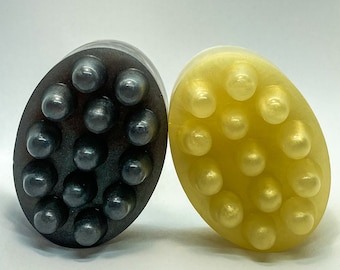 Pair of Black-n-Gold Organic Massage Bar Soaps, black and gold home decor, massage bars,modern vegan bar soap,favor gift