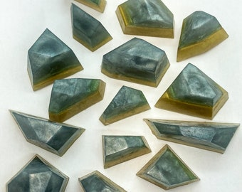 Collection of 15 Mini Green Calcite Gem Crystal Hand Soap, crystal home decor, crystal shaped soap,modern vegan bar soap,favor gift