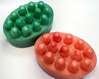 Pair of Preppie Color Organic Massage Bar Soaps, pink and green home decor, massage bars,modern vegan bar soap,favor gift