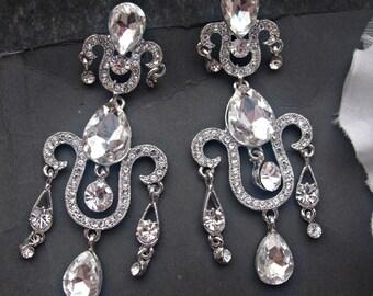 Bridal earrings crystal earrings rhinestone earrings drop earrings bridesmaid earrings wedding jewelry chandelier earrings wedding earrings