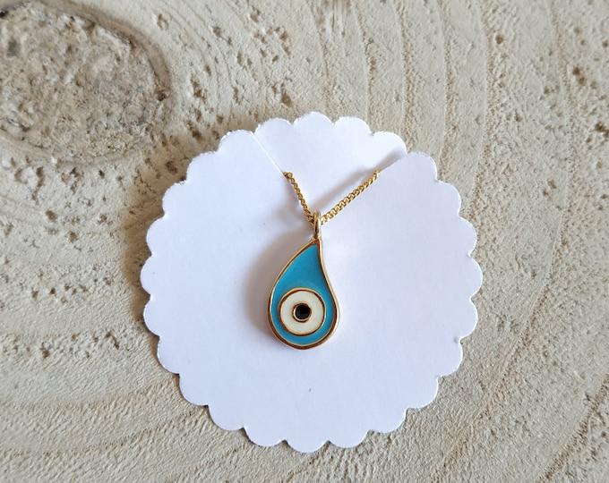 Evil eye teardrop pendant necklace