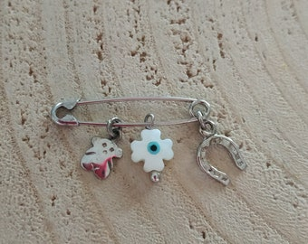 Sterling silver 925 good luck charms brooch