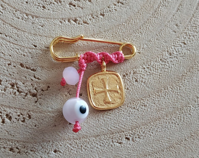 Square cross pink brooch with beads, for new born baby girl