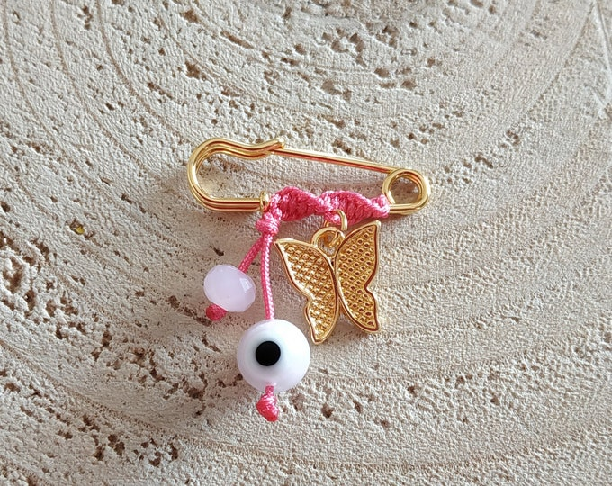 Slim butterfly fuchsia brooch for baby girls