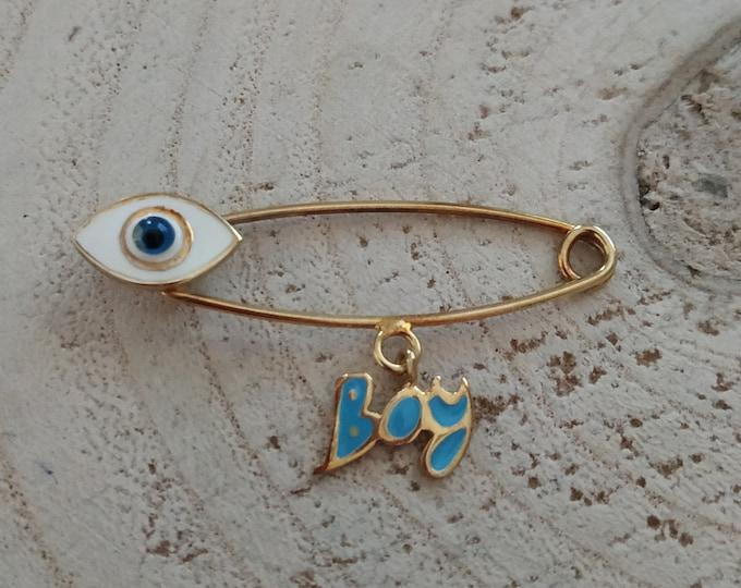 Evil eye modern baby boy mini brooch