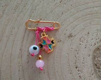 Hand painted cross safety pin for baby girls