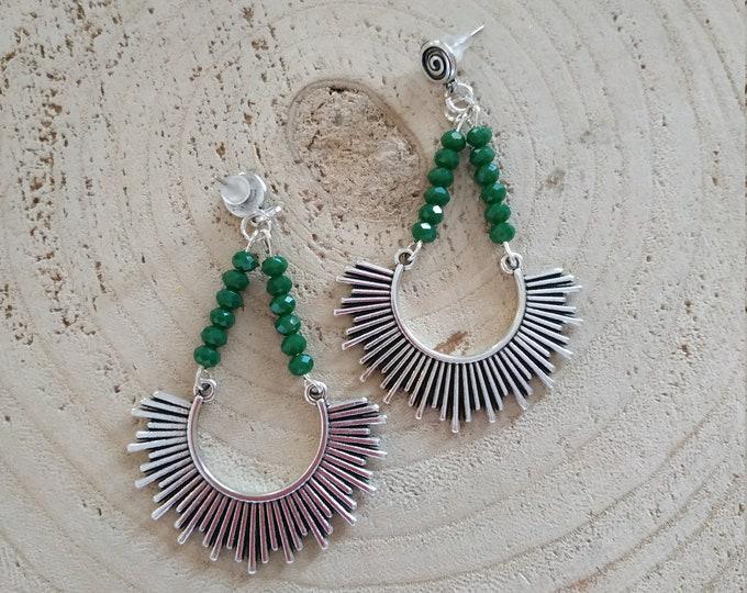 Semi sun long green post earrings