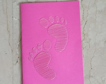 Baby footprints embroidered wishes card