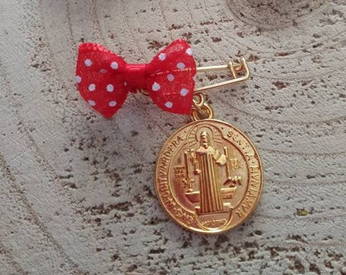 St. Benedict blessed coin baby girl brooch