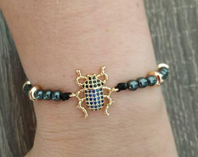 Scarab beetle Egyptian hematite bracelet