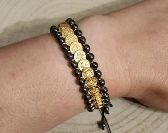 Arabic coins boho hematite bracelet