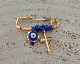 Blue cord simple brooch with cross