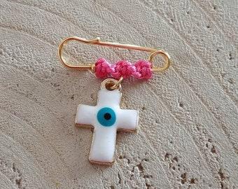 Enamel cross pregnancy modern brooch with evil eye