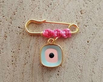 Simple pink square evil eye baby brooch
