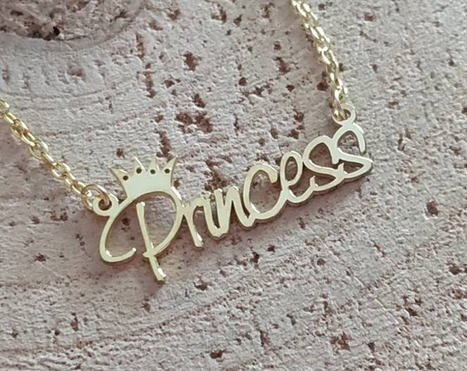 Princess script necklace