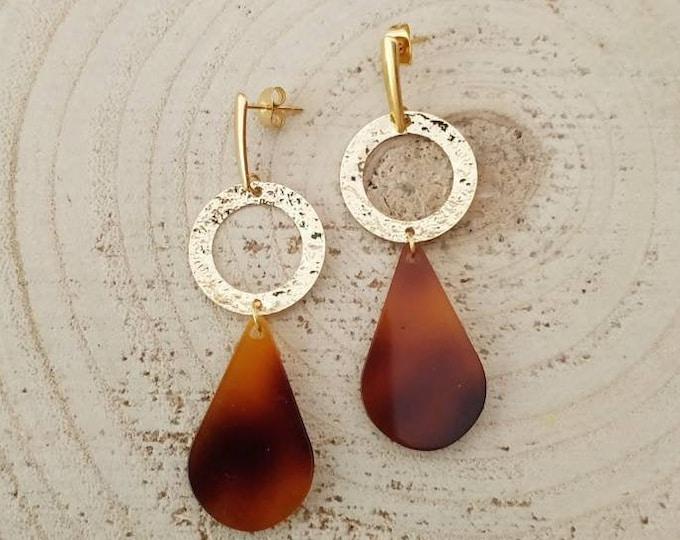 Tortoise honey teardrop earrings