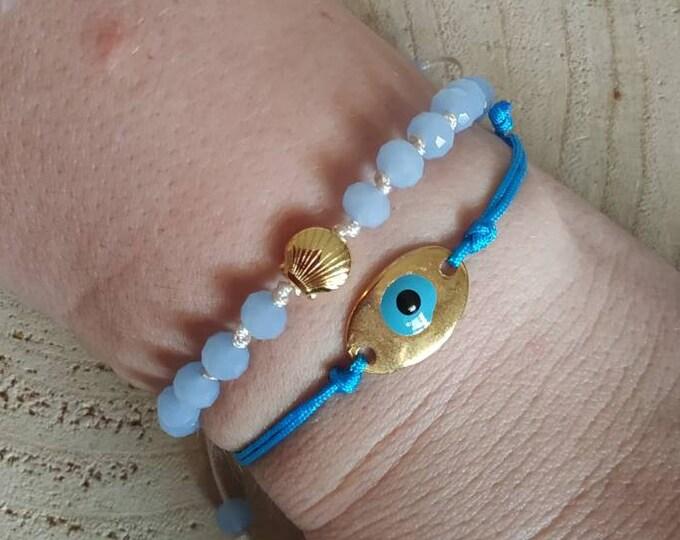 2items, Shell beaded rosary bracelet & evil eye charm