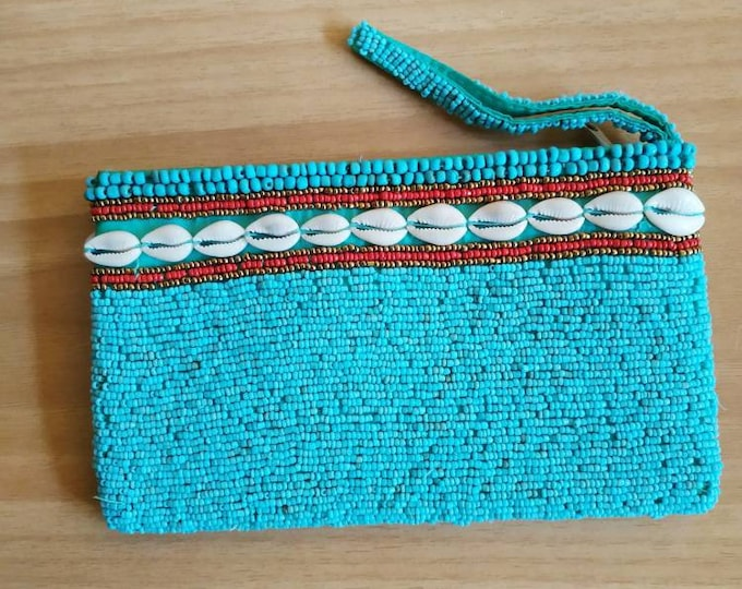 Cowrie zipper beaded bag