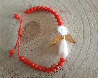 Guardian pearl angel wing bracelet