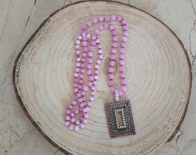 Lavender stone rosary necklace with pendant