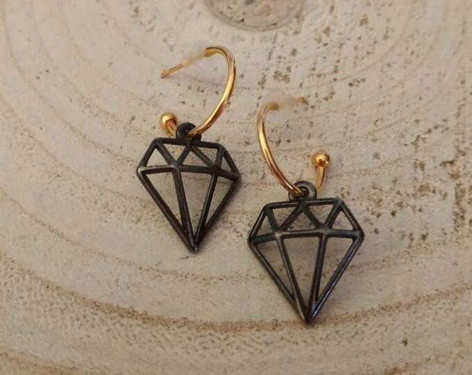Slim diamond creoles, mini hoops earrings, diamond shape studs, push back hoop earrings, oxidised diamond charms, gift fo girlfriend