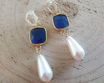 Blue crystal agate post earrings with teardrop white pearls