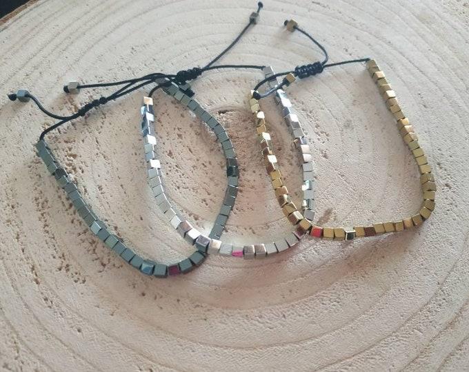 Mini cube hematite bracelet