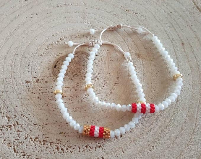 Seed beaded barrel white bracelet