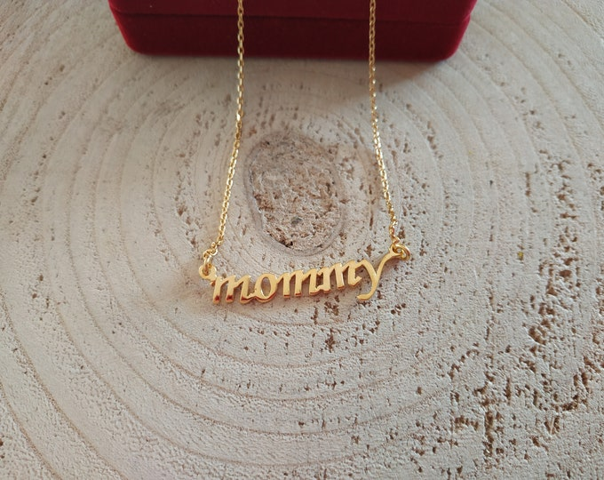 Greek lettering necklace, Μαμά, mommy pendant, sterling silver 925