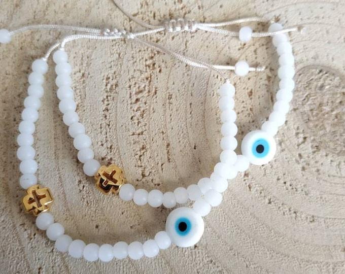 White beaded cross confirmation bracelet