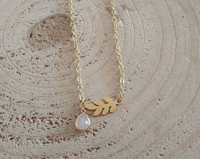 Leaf stainless steel necklace with teardrop crystal charm