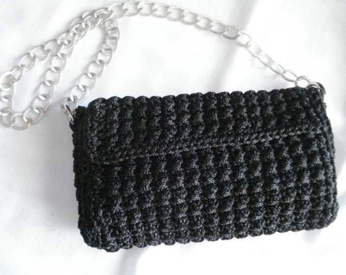 Black crochet Greek luxury small shoulder bag