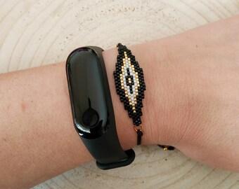 Evil eye black miyuki seed beaded bracelet