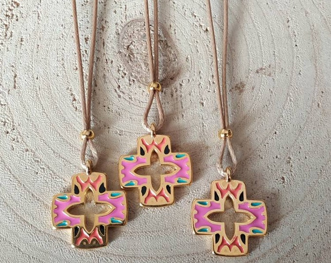 Simple cord pink cross necklace
