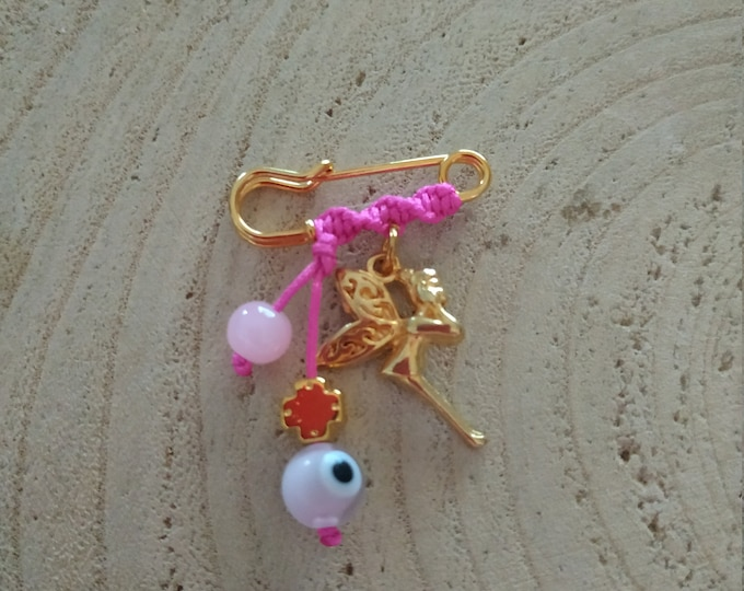 Gold fairy charm brooch for girls