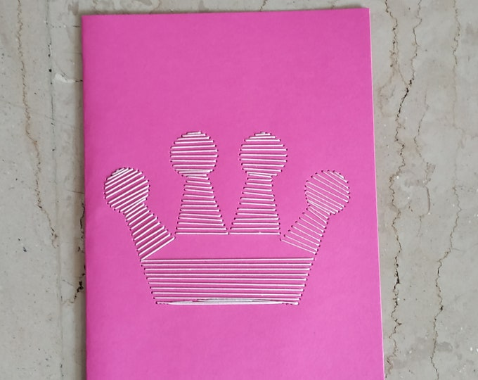 Crown embroidered wishes card