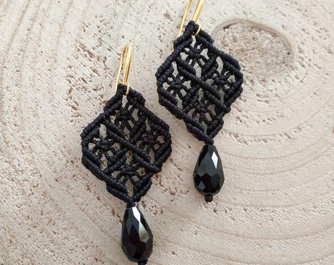 Black cord macrame earrings in a rhombus pattern