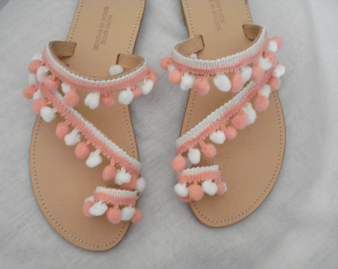 White peach pom poms leather flat sandals