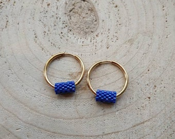 Mykonos blue huggies, seed beaded hoops, gold mini creoles, beadwork geometry earrings, modern jewelry for her, classy jewelry, unique gifts