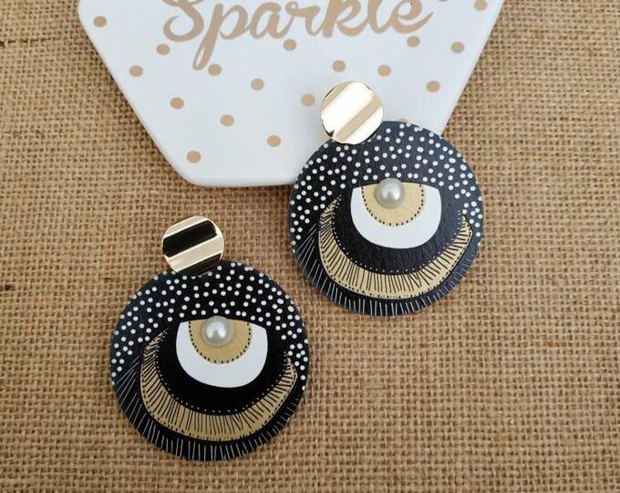 Large disc wood post earrings