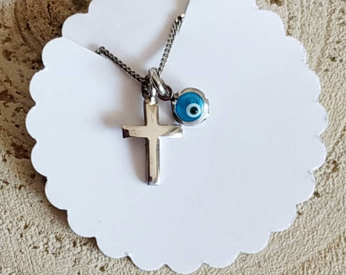 Mini sterling silver 925 cross necklace with evil eye