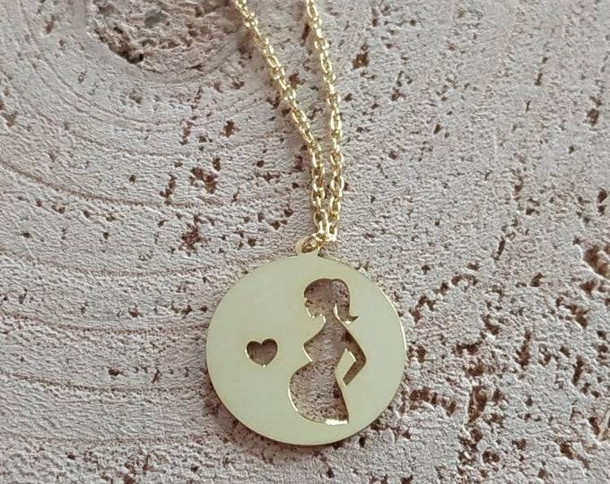 Pregnancy modern necklace, sterling silver 925