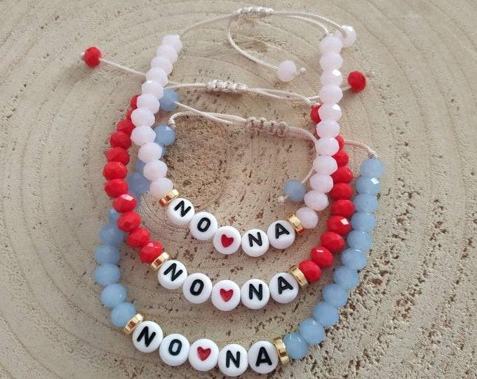 NONA beaded bracelet, letter bracelet, Greek modern jewelry, godmother's presents, personalized name gift, baptism gift for her, goddaughter