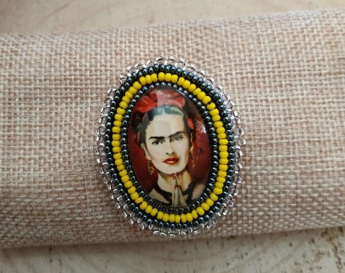 Frida Kahlo portrait embroidered brooch