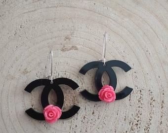 Channel inspired romantic floral earrings for pierced ears