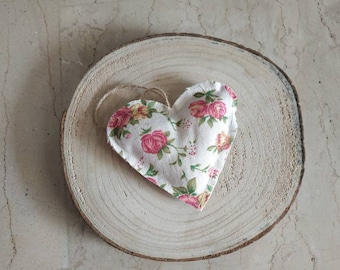 2x Floral heart ornaments, rustic fabric hearts, stuffed farmhouse decor, door hanger, home accents, Valentine's heart, home accessories
