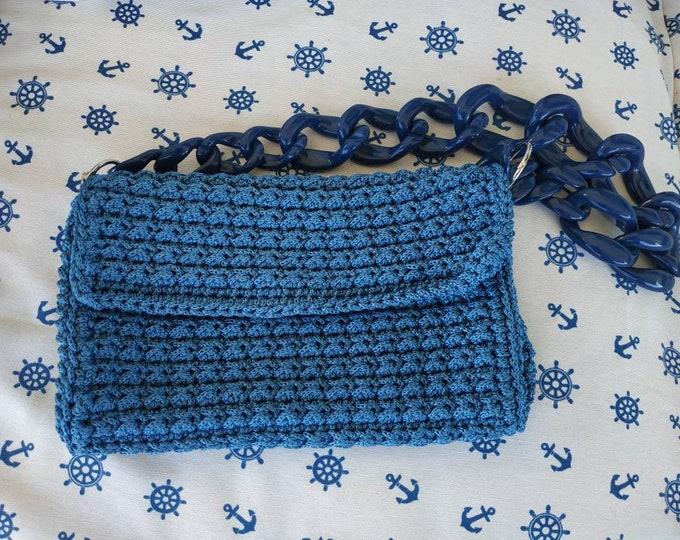 Blue crochet luxury bag