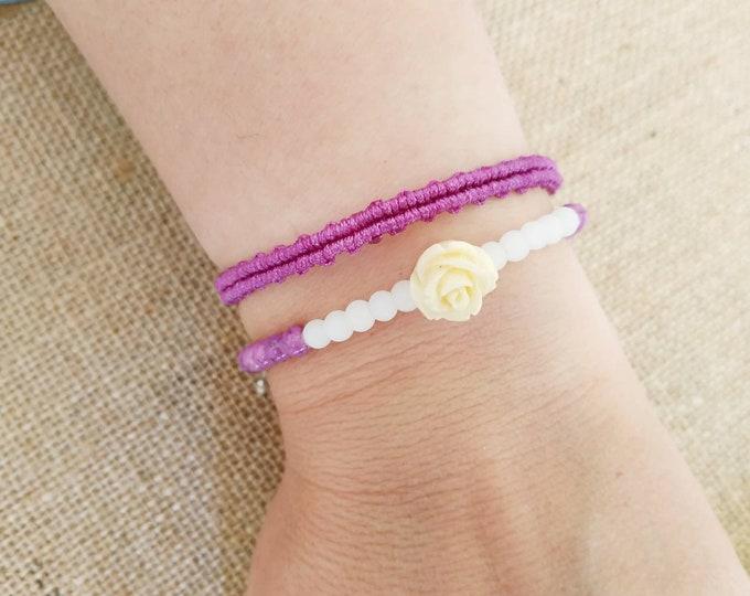 Flower slim bracelet set